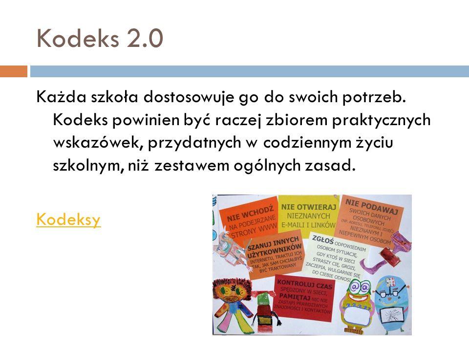 Kodeks 2.0 Każda szkoła dostosowuje go do swoich potrzeb. Kodeks powinien być raczej zbiorem praktycznych wskazówek, przydatnych w codziennym życiu sz
