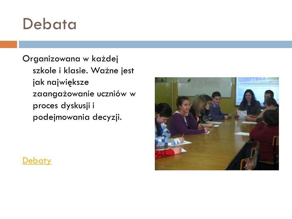 Debata Organizowana w każdej szkole i klasie.