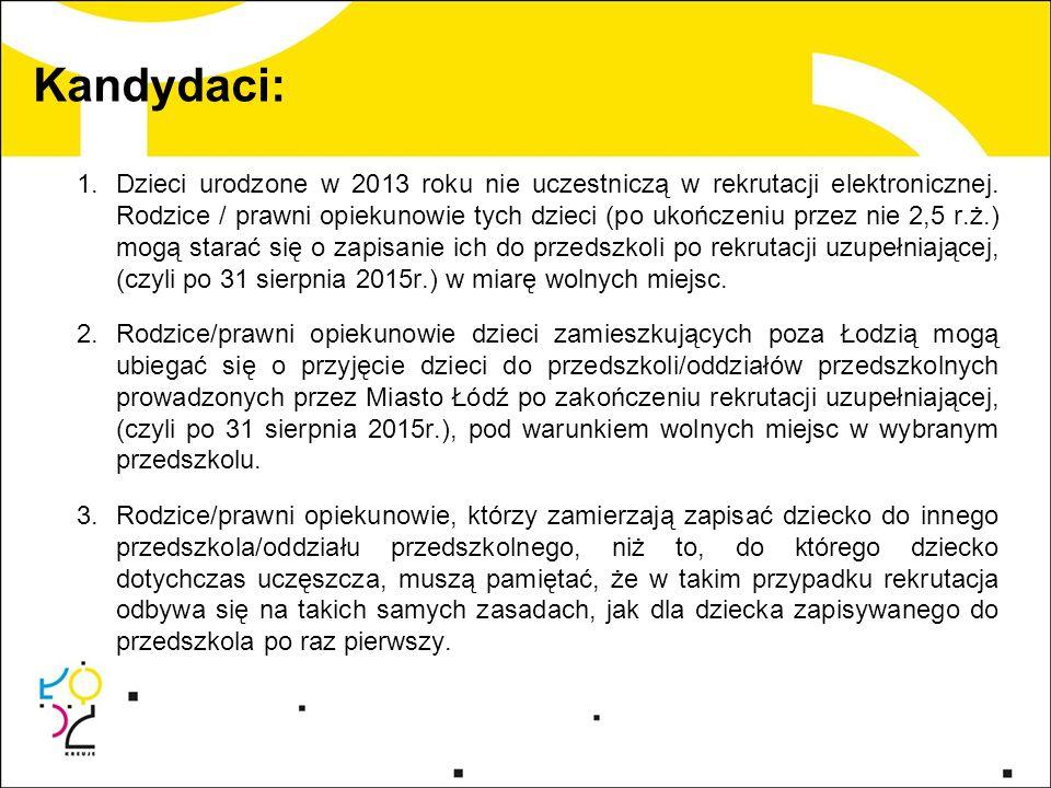 Kandydaci: 1.Dzieci urodzone w 2013 roku nie uczestniczą w rekrutacji elektronicznej.