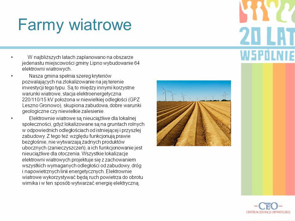 Farmy wiatrowe W najbliższych latach zaplanowano na obszarze jedenastu miejscowości gminy Lipno wybudowanie 64 elektrowni wiatrowych.