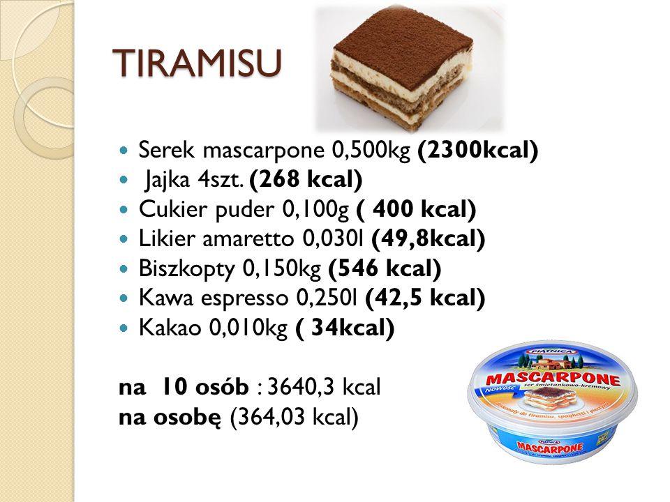 TIRAMISU Serek mascarpone 0,500kg (2300kcal) Jajka 4szt.