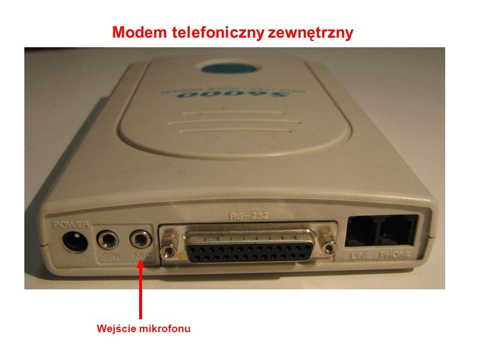 Modem telefoniczny zewnętrzny Wejście mikrofonu