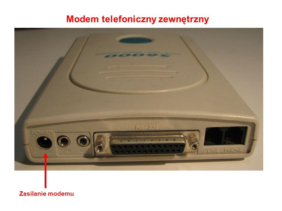 Modem telefoniczny zewnętrzny Zasilanie modemu