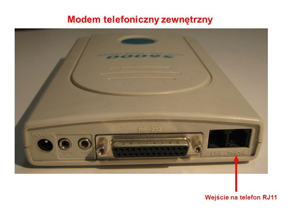 Modem telefoniczny zewnętrzny Wejście na telefon RJ11