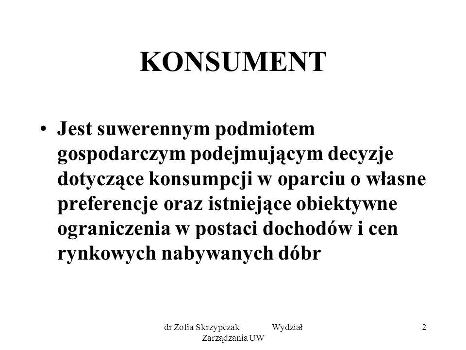 dr Zofia Skrzypczak Wydział Zarządzania UW 33 Punkt równowagi konsumenta Jest to punkt styczności linii budżetowej z krzywą obojętności Wyznacza optymalną kombinację dóbr Optymalną: tzn.