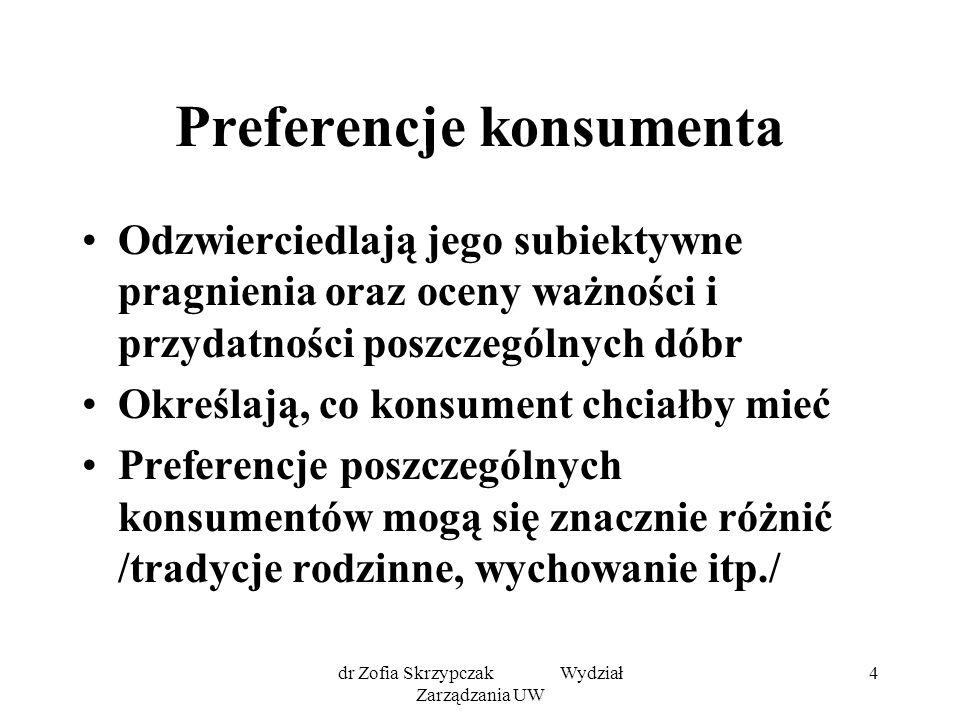 dr Zofia Skrzypczak Wydział Zarządzania UW 5 Badania zachowania się konsumenta: 1/ oparte na koncepcji użyteczności /historycznie wcześniejsze/ 2/ oparte na koncepcji krzywej obojętności i linii budżetowej /nowocześniejsze/