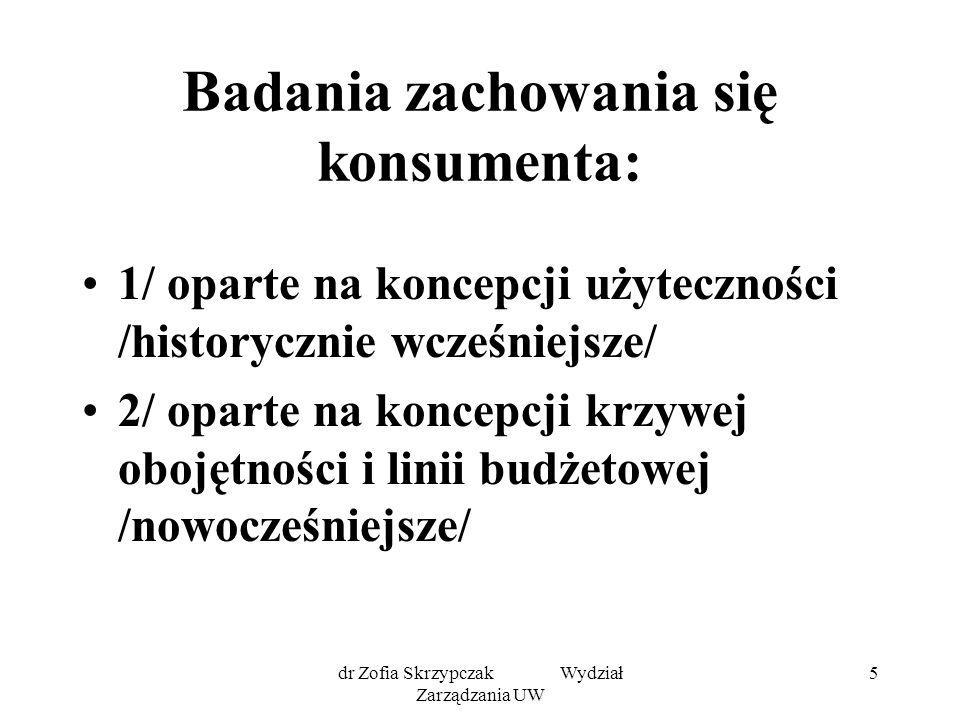 dr Zofia Skrzypczak Wydział Zarządzania UW 16 Teoria krzywych obojętności - Krzywa obojętności - Linia budżetowa - Punkt równowagi konsumenta