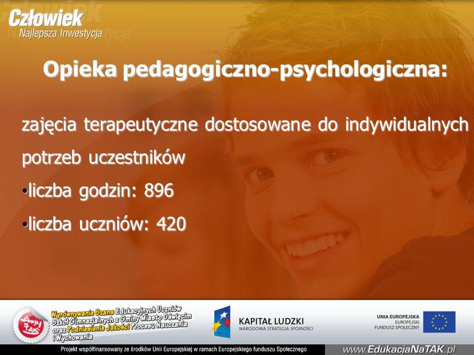 Opieka pedagogiczno-psychologiczna: zajęcia terapeutyczne dostosowane do indywidualnych potrzeb uczestników liczba godzin: 896 liczba godzin: 896 liczba uczniów: 420 liczba uczniów: 420