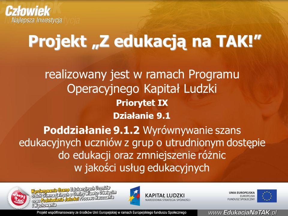 """Projekt """"Z edukacją na TAK! realizowany jest w ramach Programu Operacyjnego Kapitał Ludzki Priorytet IX Działanie 9.1 Poddziałanie 9.1.2 Wyrównywanie szans edukacyjnych uczniów z grup o utrudnionym dostępie do edukacji oraz zmniejszenie różnic w jakości usług edukacyjnych"""