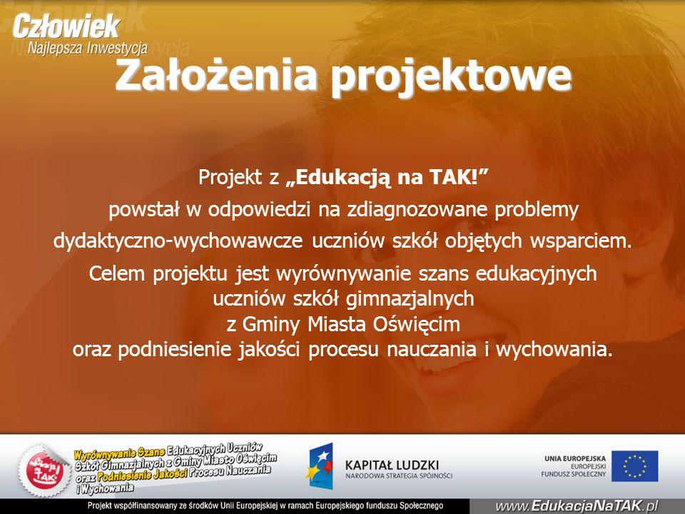 """Założenia projektowe Projekt z """"Edukacją na TAK! powstał w odpowiedzi na zdiagnozowane problemy dydaktyczno-wychowawcze uczniów szkół objętych wsparciem."""