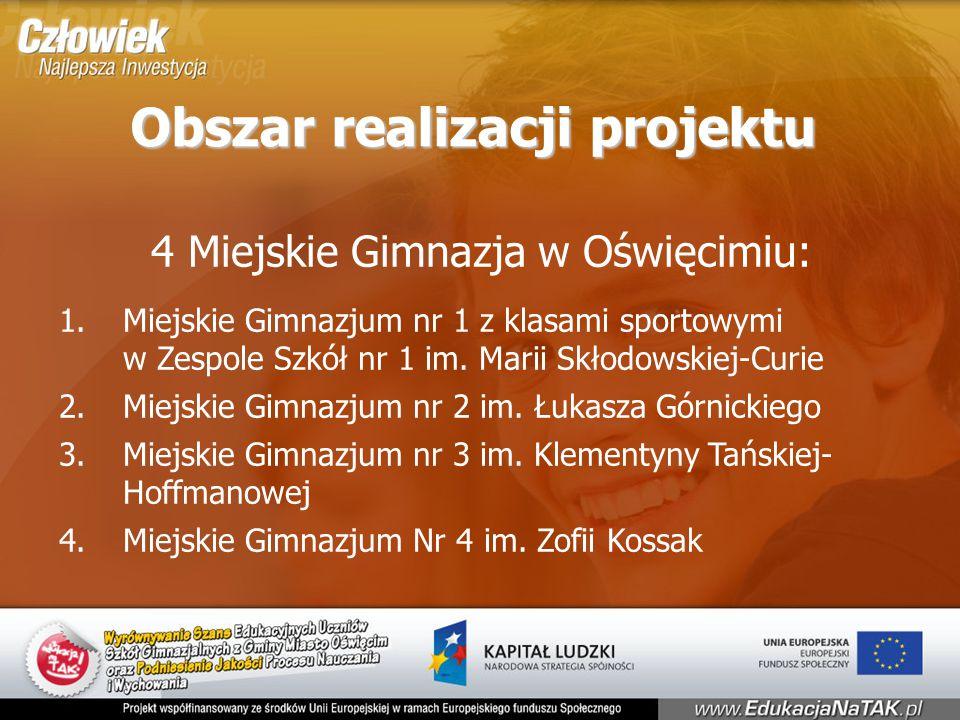 Obszar realizacji projektu 4 Miejskie Gimnazja w Oświęcimiu: 1.Miejskie Gimnazjum nr 1 z klasami sportowymi w Zespole Szkół nr 1 im.