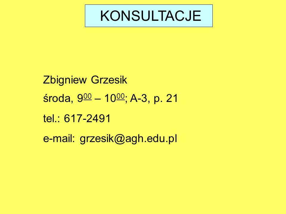 KONSULTACJE środa, 9 00 – 10 00 ; A-3, p.