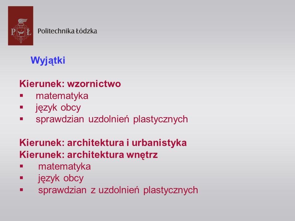 Kierunek: wzornictwo  matematyka  język obcy  sprawdzian uzdolnień plastycznych Kierunek: architektura i urbanistyka Kierunek: architektura wnętrz  matematyka  język obcy  sprawdzian z uzdolnień plastycznych Wyjątki