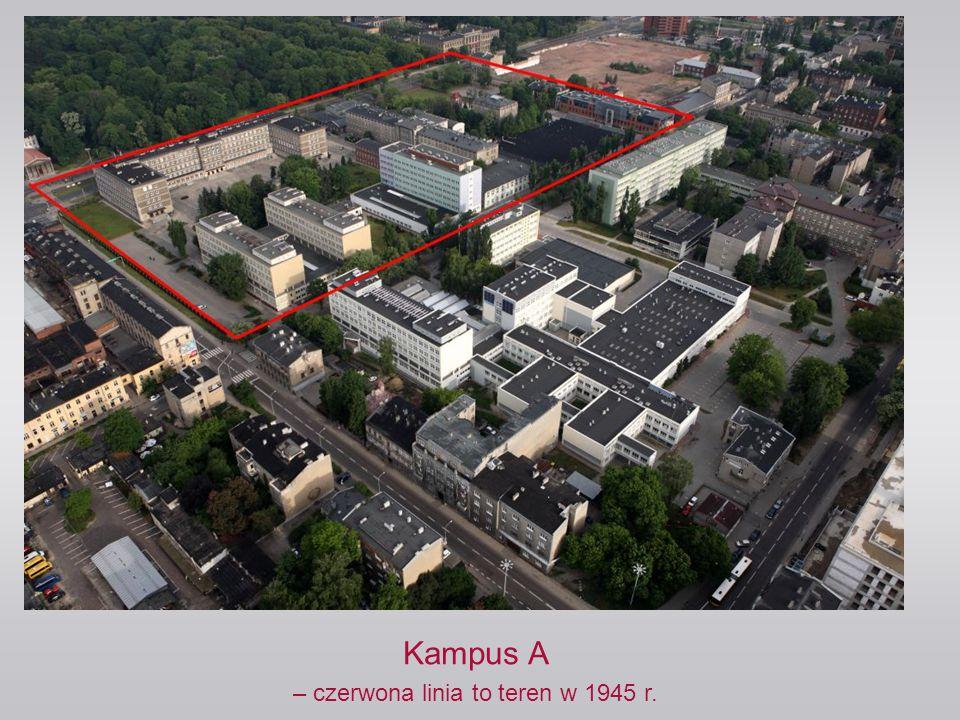 Kampus A – czerwona linia to teren w 1945 r.
