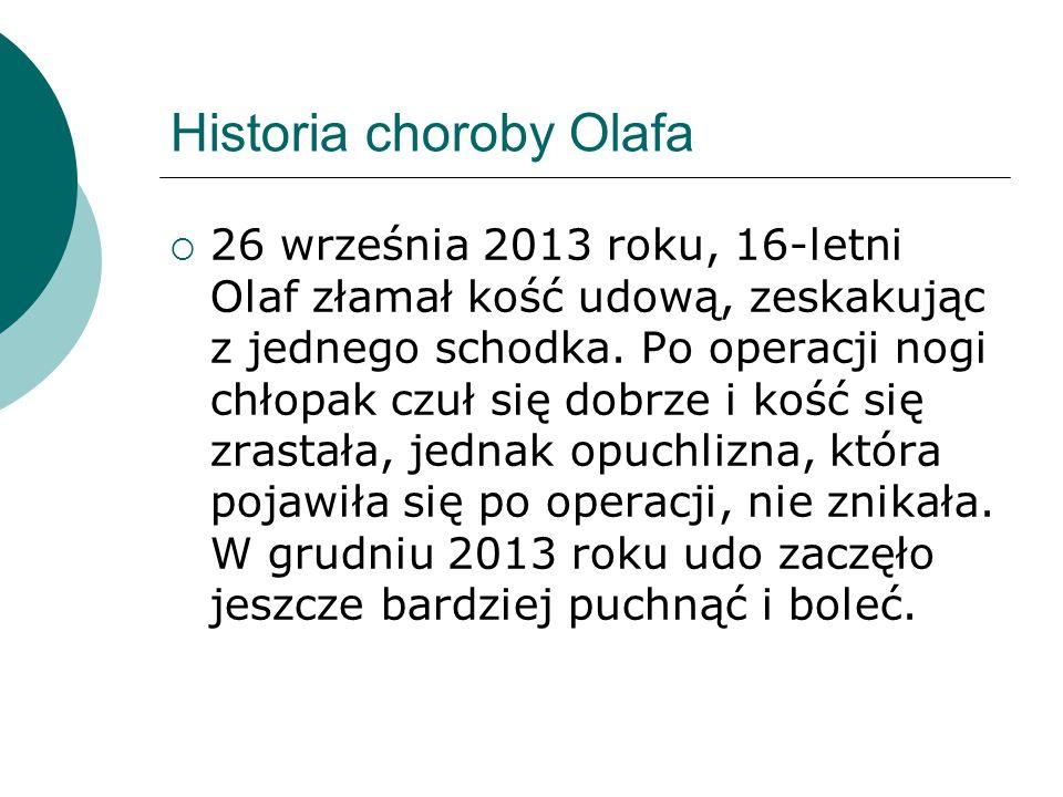 Historia choroby Olafa 226 września 2013 roku, 16-letni Olaf złamał kość udową, zeskakując z jednego schodka.