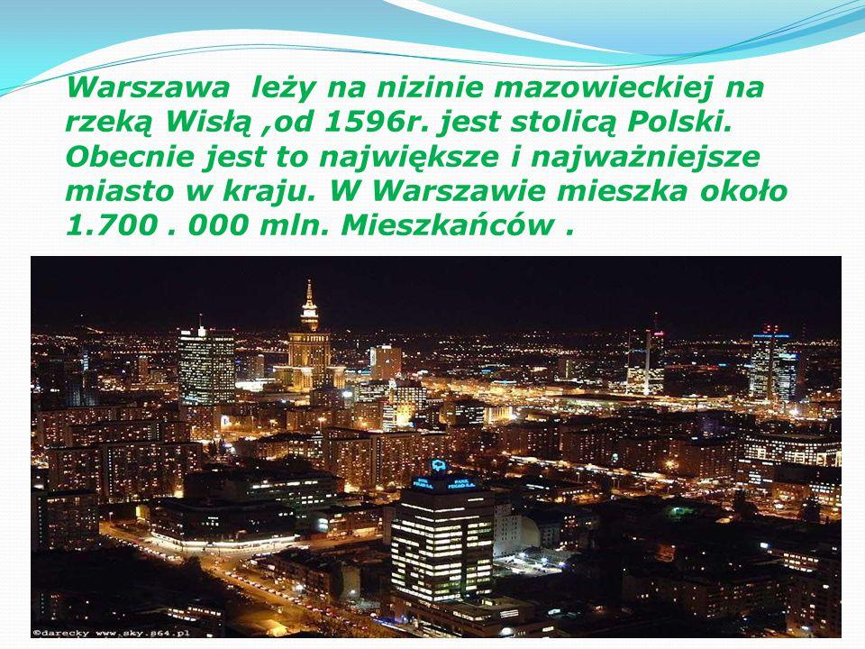 Warszawa leży na nizinie mazowieckiej na rzeką Wisłą,od 1596r.