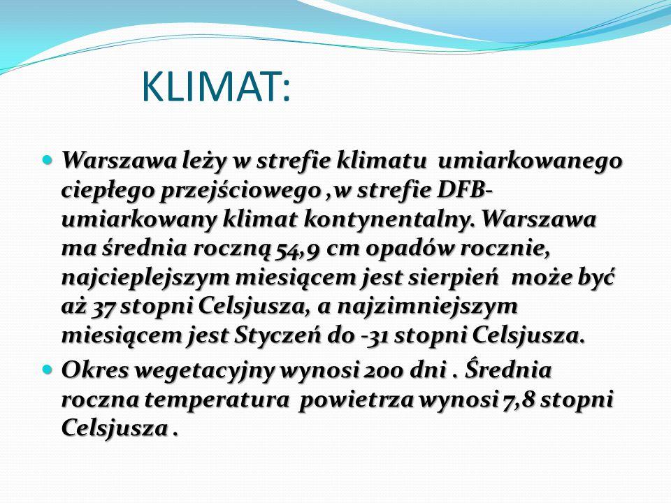 KLIMAT: Warszawa leży w strefie klimatu umiarkowanego ciepłego przejściowego,w strefie DFB- umiarkowany klimat kontynentalny.