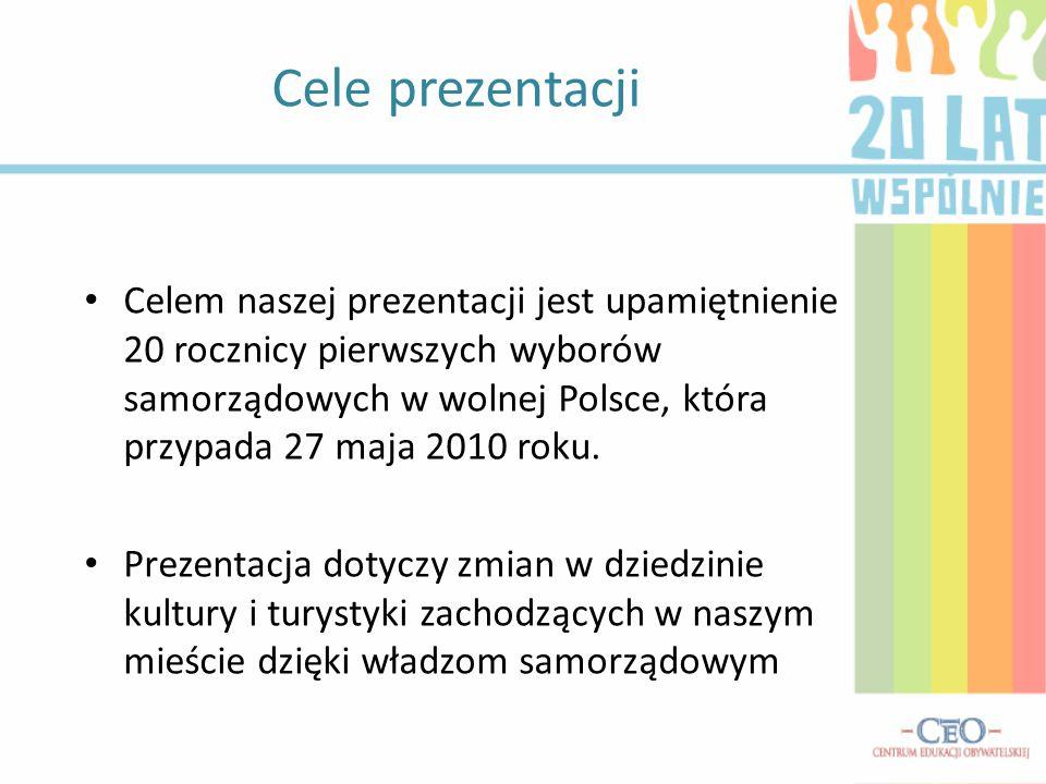 Cele prezentacji Celem naszej prezentacji jest upamiętnienie 20 rocznicy pierwszych wyborów samorządowych w wolnej Polsce, która przypada 27 maja 2010 roku.