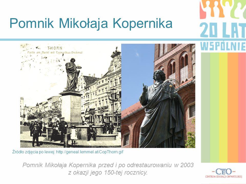 Pomnik Mikołaja Kopernika Źródło zdjęcia po lewej: http://geneal.lemmel.at/CopThorn.gif Pomnik Mikołaja Kopernika przed i po odrestaurowaniu w 2003 z okazji jego 150-tej rocznicy.