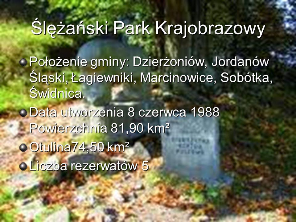 Ślężański Park Krajobrazowy Położenie gminy: Dzierżoniów, Jordanów Śląski, Łagiewniki, Marcinowice, Sobótka, Świdnica. Data utworzenia 8 czerwca 1988