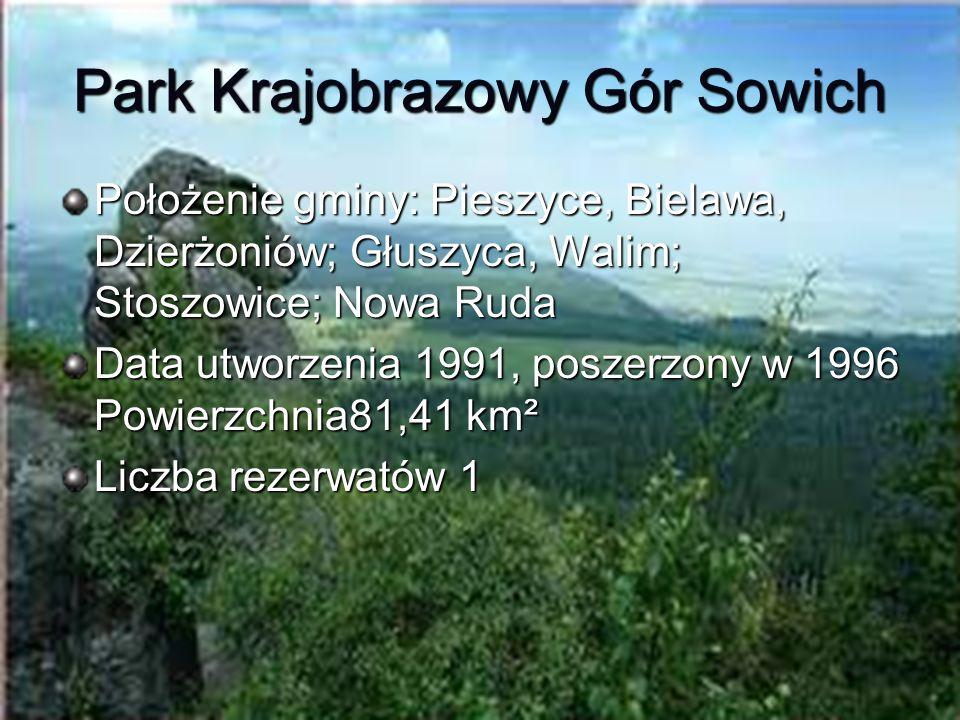 Park Krajobrazowy Gór Sowich Położenie gminy: Pieszyce, Bielawa, Dzierżoniów; Głuszyca, Walim; Stoszowice; Nowa Ruda Data utworzenia 1991, poszerzony