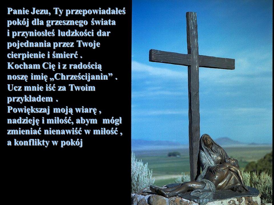 Panie Jezu, Ty przepowiadałeś pokój dla grzesznego świata i przyniosłeś ludzkości dar pojednania przez Twoje cierpienie i śmierć. Kocham Cię i z radoś