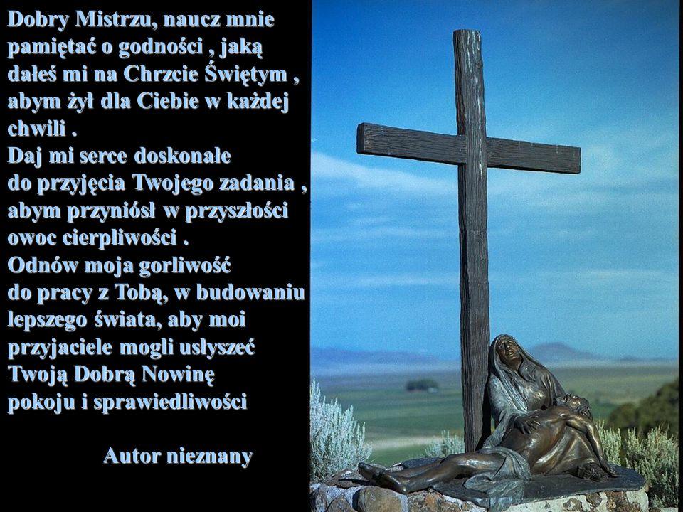Dobry Mistrzu, naucz mnie pamiętać o godności, jaką dałeś mi na Chrzcie Świętym, abym żył dla Ciebie w każdej chwili. Daj mi serce doskonałe do przyję