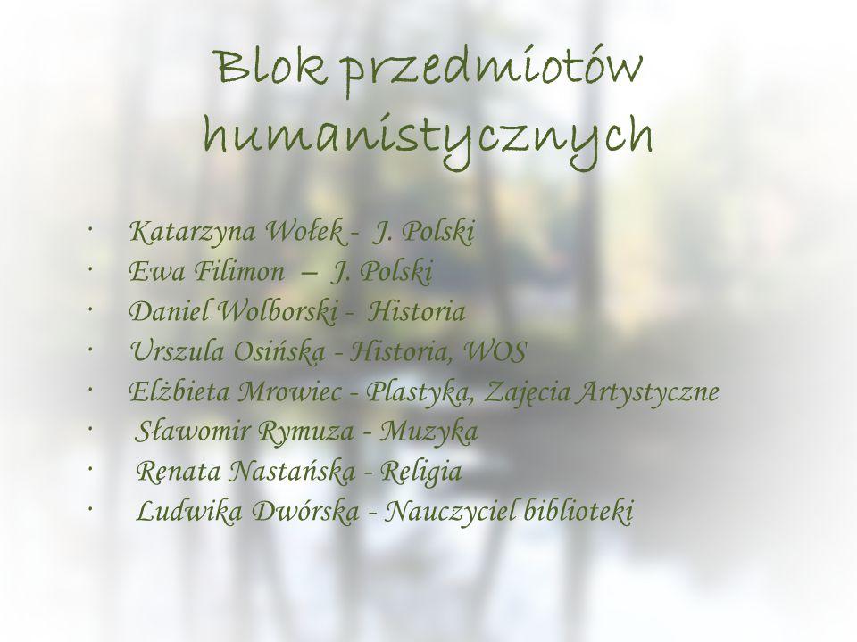 Blok przedmiotów humanistycznych ·Katarzyna Wołek - J. Polski ·Ewa Filimon – J. Polski ·Daniel Wolborski - Historia ·Urszula Osińska - Historia, WOS ·