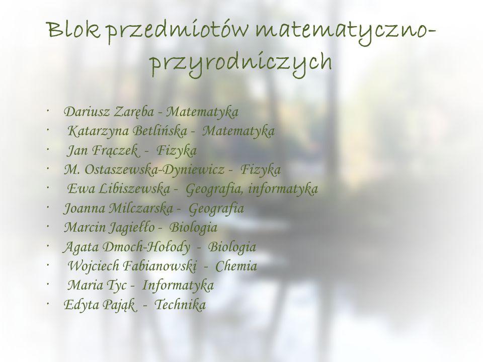 Blok przedmiotów matematyczno- przyrodniczych ·Dariusz Zaręba - Matematyka · Katarzyna Betlińska - Matematyka · Jan Frączek - Fizyka ·M. Ostaszewska-D