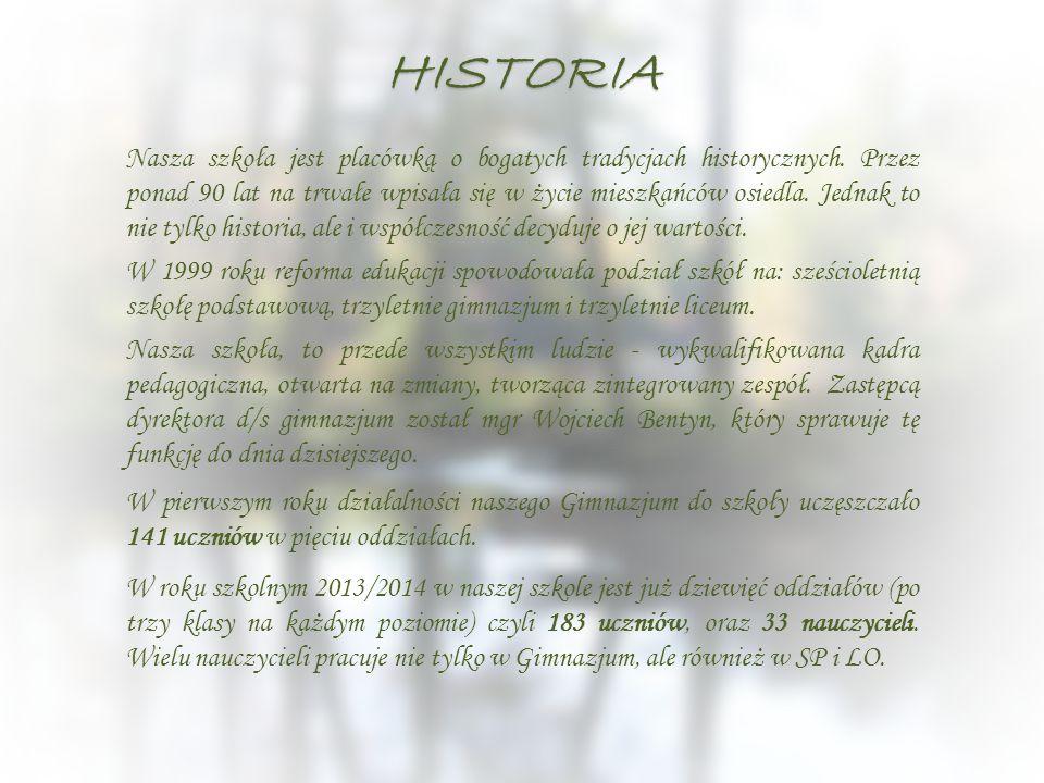 HISTORIA Nasza szkoła jest placówką o bogatych tradycjach historycznych. Przez ponad 90 lat na trwałe wpisała się w życie mieszkańców osiedla. Jednak