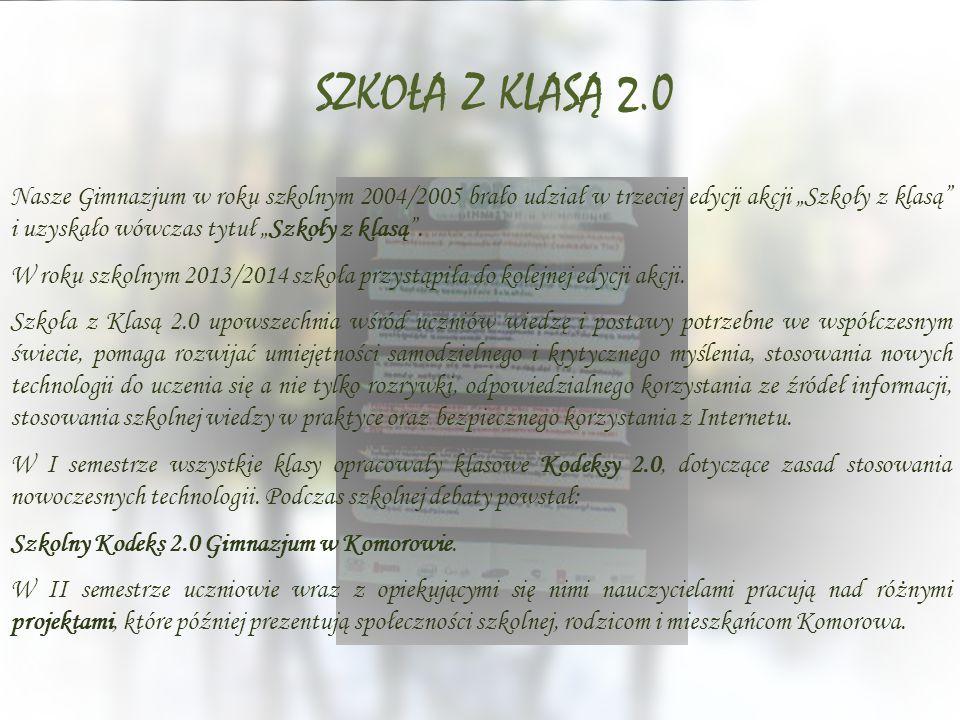 """Nasze Gimnazjum w roku szkolnym 2004/2005 brało udział w trzeciej edycji akcji """"Szkoły z klasą"""" i uzyskało wówczas tytuł """"Szkoły z klasą"""". W roku szko"""