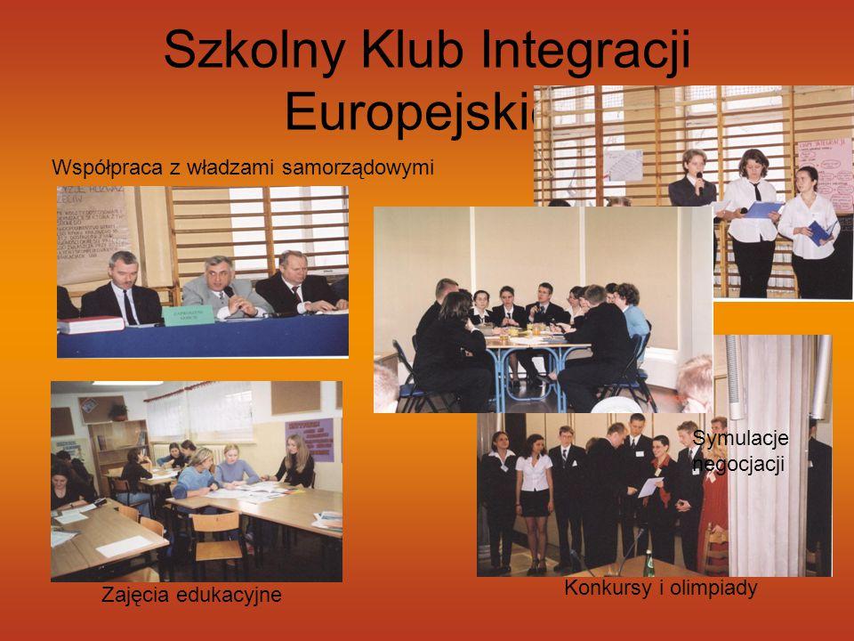 Szkolny Klub Integracji Europejskiej Konkursy i olimpiady Debaty Symulacje negocjacji Współpraca z władzami samorządowymi Zajęcia edukacyjne
