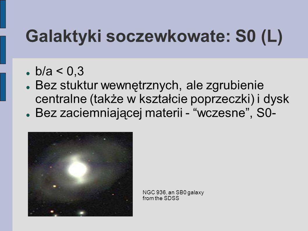 Galaktyki soczewkowate: S0 (L) b/a < 0,3 Bez stuktur wewnętrznych, ale zgrubienie centralne (także w kształcie poprzeczki) i dysk Bez zaciemniającej materii - wczesne , S0- NGC 936, an SB0 galaxy from the SDSS