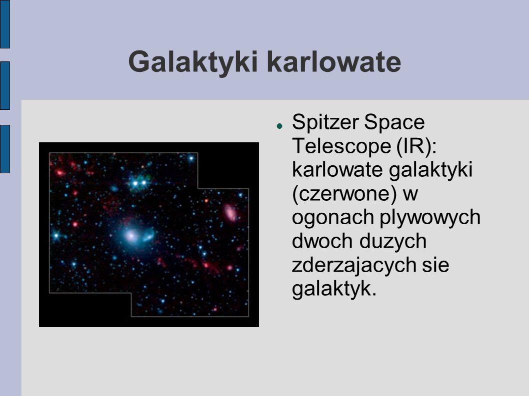 Galaktyki karlowate Spitzer Space Telescope (IR): karlowate galaktyki (czerwone) w ogonach plywowych dwoch duzych zderzajacych sie galaktyk.