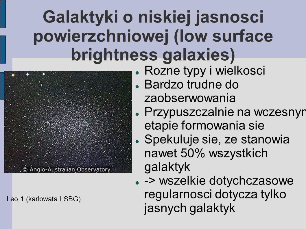 Galaktyki o niskiej jasnosci powierzchniowej (low surface brightness galaxies) Rozne typy i wielkosci Bardzo trudne do zaobserwowania Przypuszczalnie na wczesnym etapie formowania sie Spekuluje sie, ze stanowia nawet 50% wszystkich galaktyk -> wszelkie dotychczasowe regularnosci dotycza tylko jasnych galaktyk Leo 1 (karłowata LSBG)