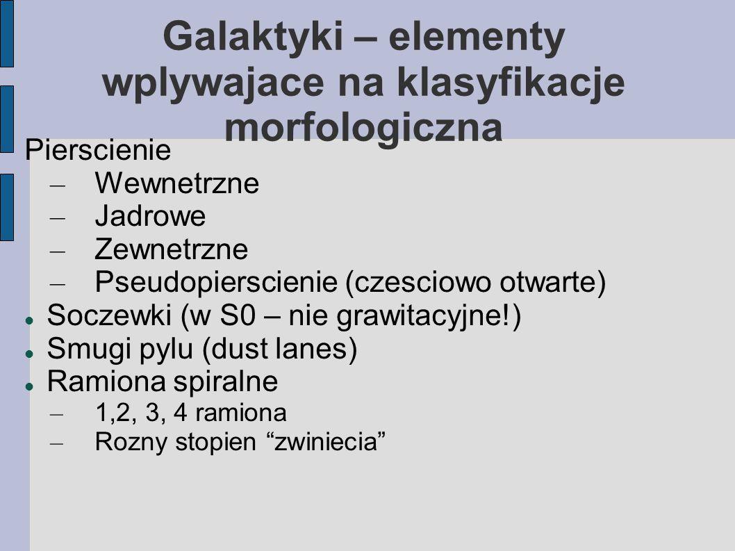 Galaktyki – elementy wplywajace na klasyfikacje morfologiczna Pierscienie – Wewnetrzne – Jadrowe – Zewnetrzne – Pseudopierscienie (czesciowo otwarte) Soczewki (w S0 – nie grawitacyjne!) Smugi pylu (dust lanes) Ramiona spiralne – 1,2, 3, 4 ramiona – Rozny stopien zwiniecia