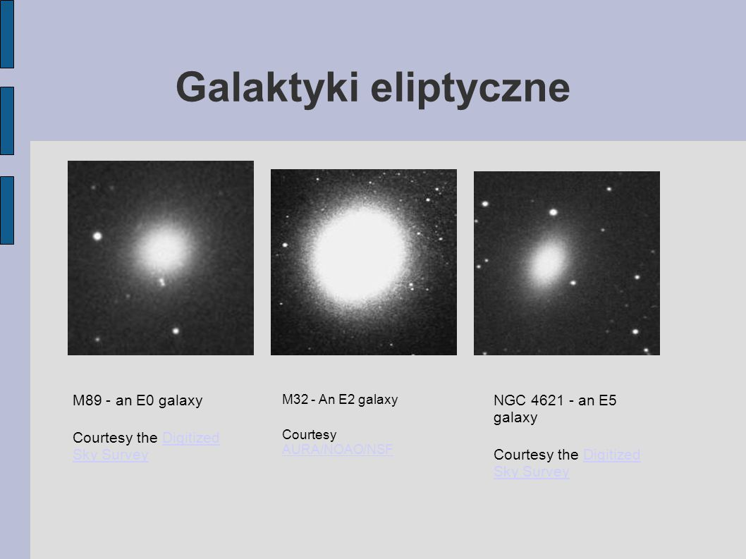 Galaktyki eliptyczne M89 - an E0 galaxy Courtesy the Digitized Sky SurveyDigitized Sky Survey M32 - An E2 galaxy Courtesy AURA/NOAO/NSF AURA/NOAO/NSF NGC 4621 - an E5 galaxy Courtesy the Digitized Sky SurveyDigitized Sky Survey