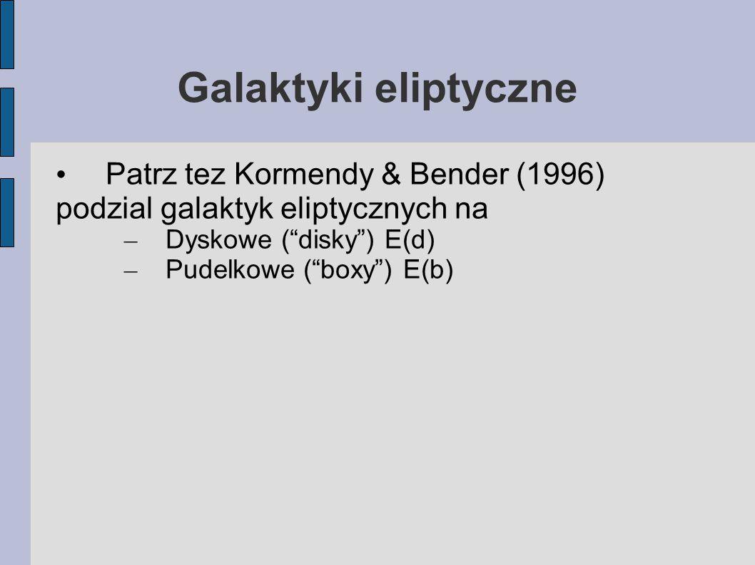 Galaktyki eliptyczne Patrz tez Kormendy & Bender (1996) podzial galaktyk eliptycznych na – Dyskowe ( disky ) E(d) – Pudelkowe ( boxy ) E(b)