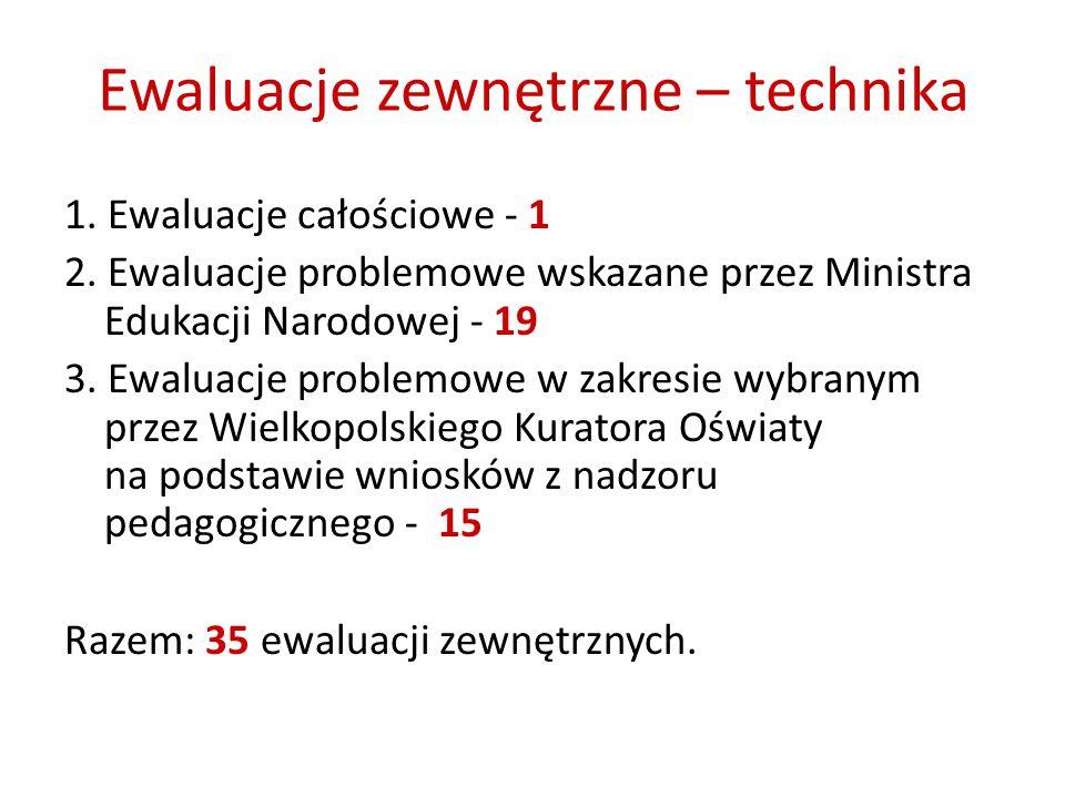 Ewaluacje zewnętrzne – technika 1. Ewaluacje całościowe - 1 2.