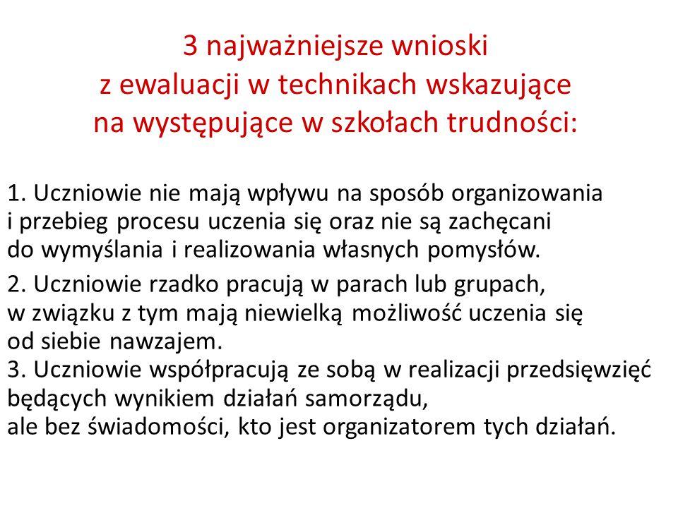 3 najważniejsze wnioski z ewaluacji w technikach wskazujące na występujące w szkołach trudności: 1.