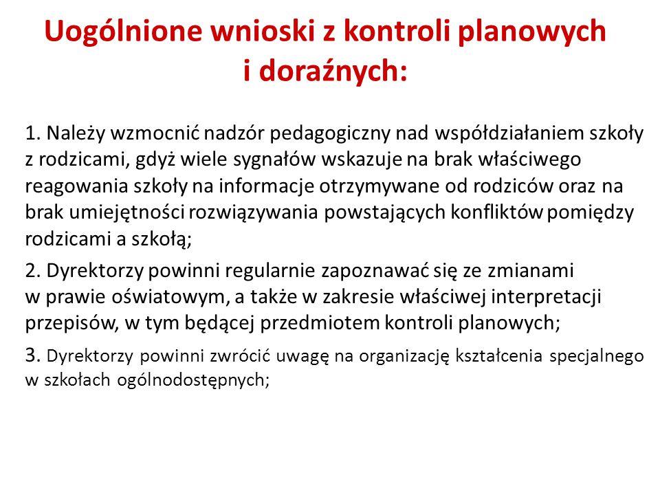 Uogólnione wnioski z kontroli planowych i doraźnych: 1.