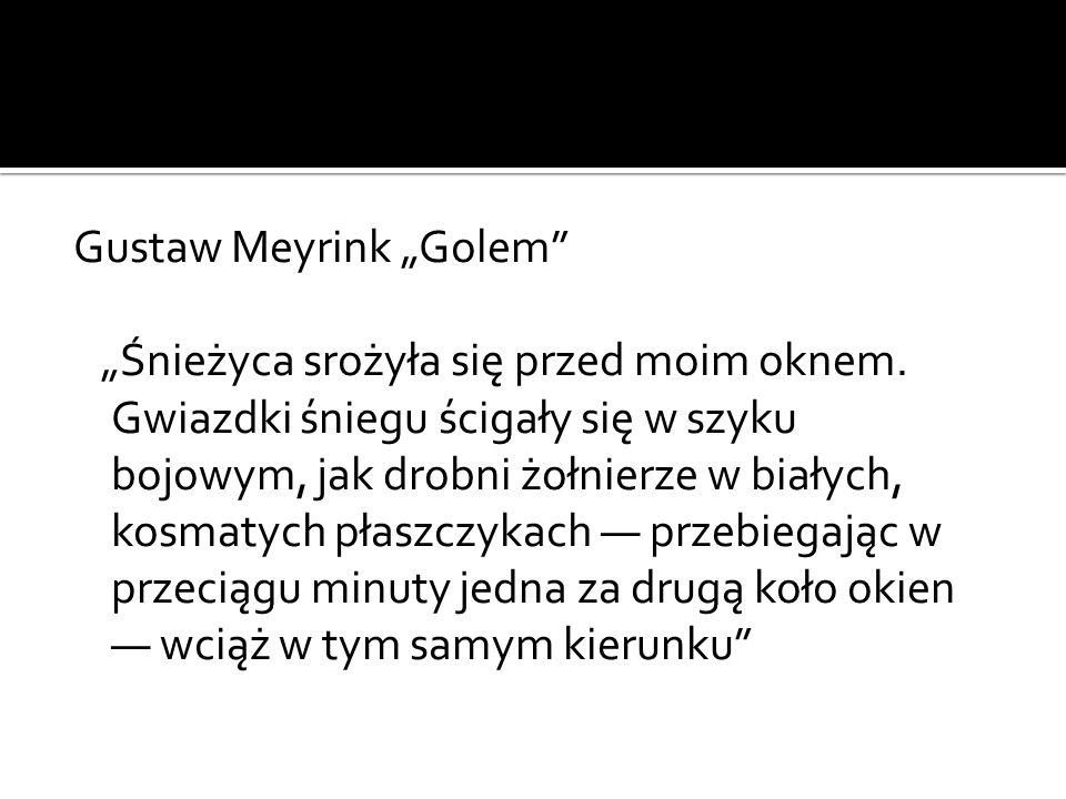 """Gustaw Meyrink """"Golem"""" """"Śnieżyca srożyła się przed moim oknem. Gwiazdki śniegu ścigały się w szyku bojowym, jak drobni żołnierze w białych, kosmatych"""