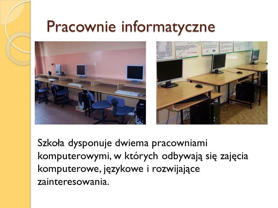 Pracownie informatyczne Szkoła dysponuje dwiema pracowniami komputerowymi, w których odbywają się zajęcia komputerowe, językowe i rozwijające zaintere