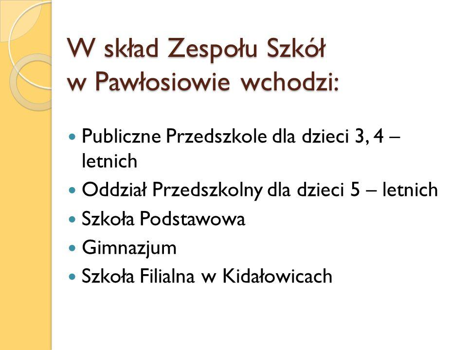 W skład Zespołu Szkół w Pawłosiowie wchodzi: Publiczne Przedszkole dla dzieci 3, 4 – letnich Oddział Przedszkolny dla dzieci 5 – letnich Szkoła Podsta
