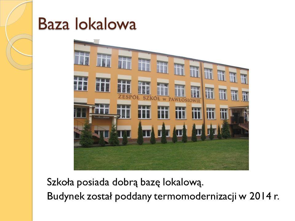 Baza lokalowa Szkoła posiada dobrą bazę lokalową. Budynek został poddany termomodernizacji w 2014 r.