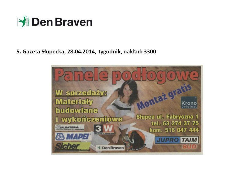 5. Gazeta Słupecka, 28.04.2014, tygodnik, nakład: 3300
