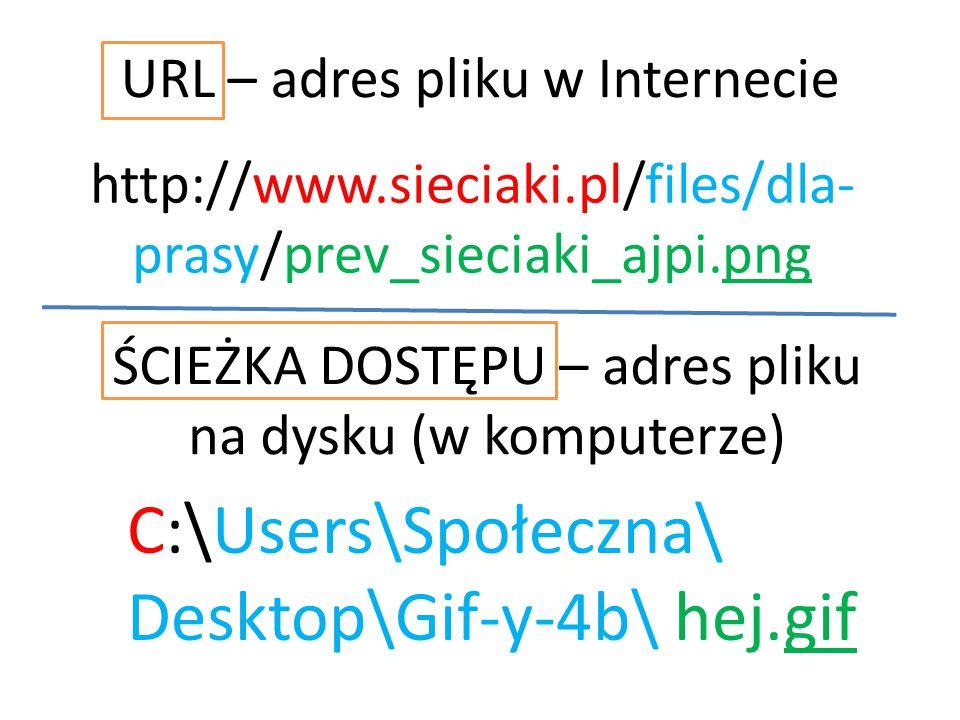 http://www.sieciaki.pl/files/dla- prasy/prev_sieciaki_ajpi.png URL – adres pliku w Internecie ŚCIEŻKA DOSTĘPU – adres pliku na dysku (w komputerze) C:
