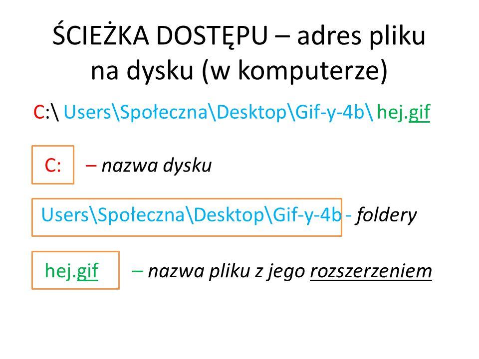 C:\ Users\Społeczna\Desktop\Gif-y-4b\ hej.gif C: – nazwa dysku Users\Społeczna\Desktop\Gif-y-4b - foldery hej.gif – nazwa pliku z jego rozszerzeniem Ś
