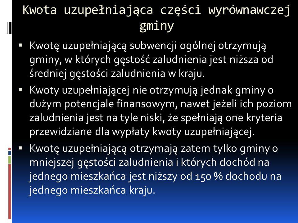 Kwota uzupełniająca części wyrównawczej gminy  Kwotę uzupełniającą subwencji ogólnej otrzymują gminy, w których gęstość zaludnienia jest niższa od śr