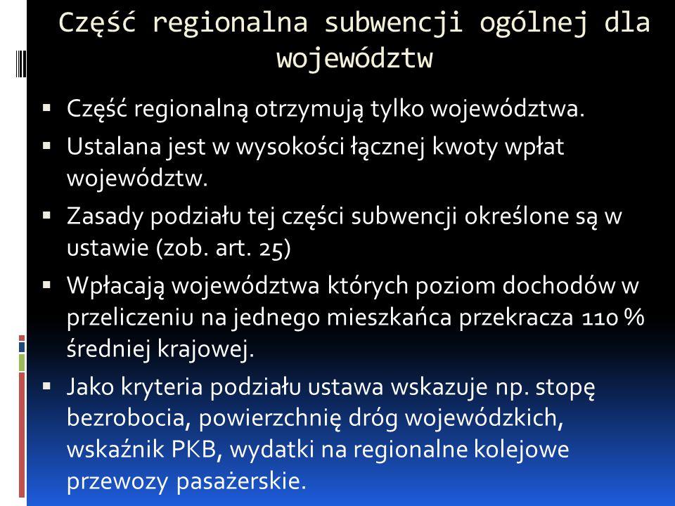 Część regionalna subwencji ogólnej dla województw  Część regionalną otrzymują tylko województwa.  Ustalana jest w wysokości łącznej kwoty wpłat woje